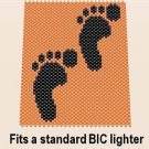 Handmade Beaded Bic Lighter Cover- Foot Print