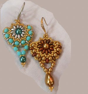 Handmade Beaded Sunflower Earrings