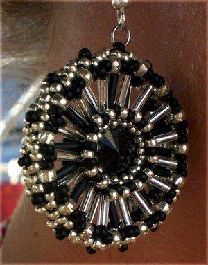 Handmade Beaded Jet Wheel Earrings