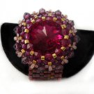Handmade Beaded Pink Bling Ring