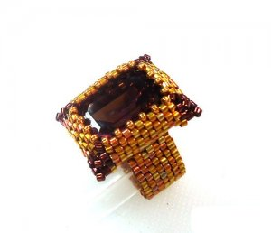 Handmade Beaded Fancy Rectangle Ring
