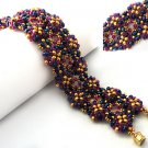 Handmade Beaded Purple Twins Bracelet