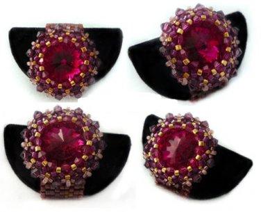Handmade Beaded Pink Bling Ring