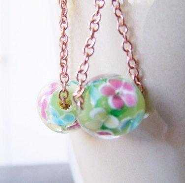 Unique Handmade Green Millefiori Glass Bead Copper Drop Earrings