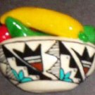 Handpainted Chile Indian Pot w/Turquoise Color