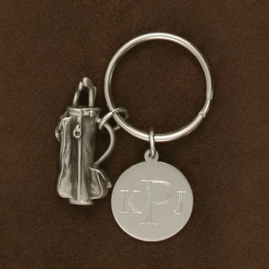Engravable Pewter Keychain with Golf Clubs