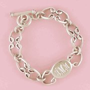 Engravable Sterling Oval Link Toggle Bracelet