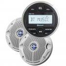 "JBL MPK175 w/PRV 175 AM/FM USB Bluetooth Gauge Style Stereo & MS6520 6.5"" Coaxial Marine Speakers"