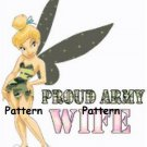 Tinkerbell Proud Army Wife. Cross Stitch Pattern. PDF Files.