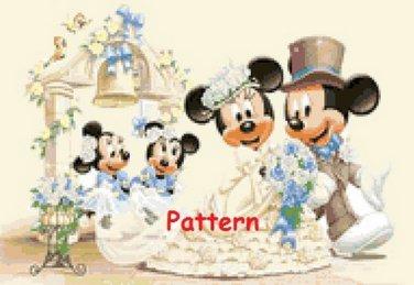Mickey & Minnie Mouse Wedding. Cross Stitch Pattern. PDF Files.