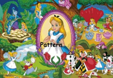 Alice In Wonderland . Cross Stitch Pattern. PDF Files.