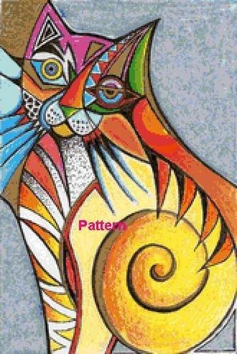 Abstract Cat. Cross Stitch Pattern. PDF Files.