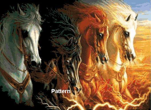 4 Horses of the Apocalypse. Cross Stitch Pattern. PDF Files.