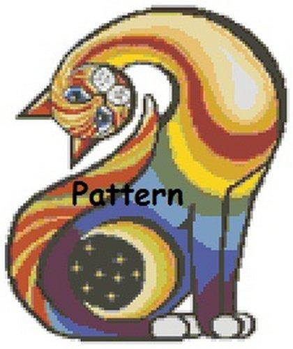 Abstract Cat #1. Cross Stitch Pattern. PDF Files.