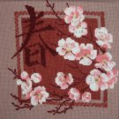 A Sakura. Handmade. Beautiful Cross-Stitch Embroidered.