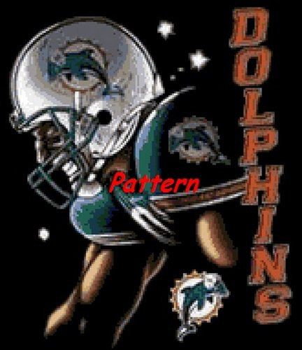 Miami Dolphins Mascot #1. Cross Stitch Pattern. PDF Files.