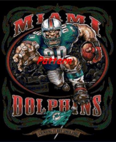 Miami Dolphins Mascot #2. Cross Stitch Pattern. PDF Files.