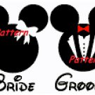 Mickey and Minnie (Bride & Groom). Wedding. Cross Stitch Kit.