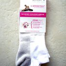 Zon Women no show walking socks MEDIUM white/light grey color made in USA yoga N