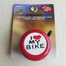 Bike Gear BICYCLE  I LOVE MY BIKE BELL Red HEART # 8594-1 Adjustable mount Unive