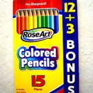 ROSEART COLORED PENCILS 15 pices Pre sharpened MEGA Rose Art 12 + 3 bonus 1081 N