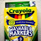 CRAYOLA CLASSIC COLORS WASHABLE MARKERS 8PK Nontoxic Broad Line 8 colors NEW in