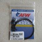 AFW 3 Surflon leaders 24 in 30 lb high strength leaders E030BL24/3 nylon coated