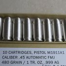 10 of 1 tr. oz. .999 fine Silver Bullet Bullion .45 ACP in box with certificate
