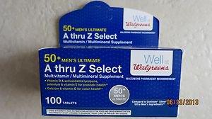 Walgreens A thru Z Select 50+ Men's Ultimate Multivitamin supplement 100 tablets