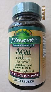 Finest Acai 1000 mg per serving Dietary Supplement Super Antioxidant 60 capsules