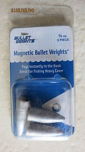 3/8 oz Magnetic Bullet Weights 3 piece Fishing Pegs instantly to the Hoo PBMAG38