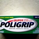 Poligrip DENTURE ADHESIVE CREAM 0.75 oz (21g) super strong all day long ZINC FRE