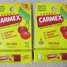 2 Carmex Cherry Moisturizing lip balm CLICK STICK .15 oz (4.25g) sunscreen SPF15