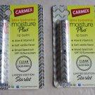 TWO CARMEX MOISTURE PLUS LIP BALM CLEAR SATIN GLOSS FINISH Limited edition Starl