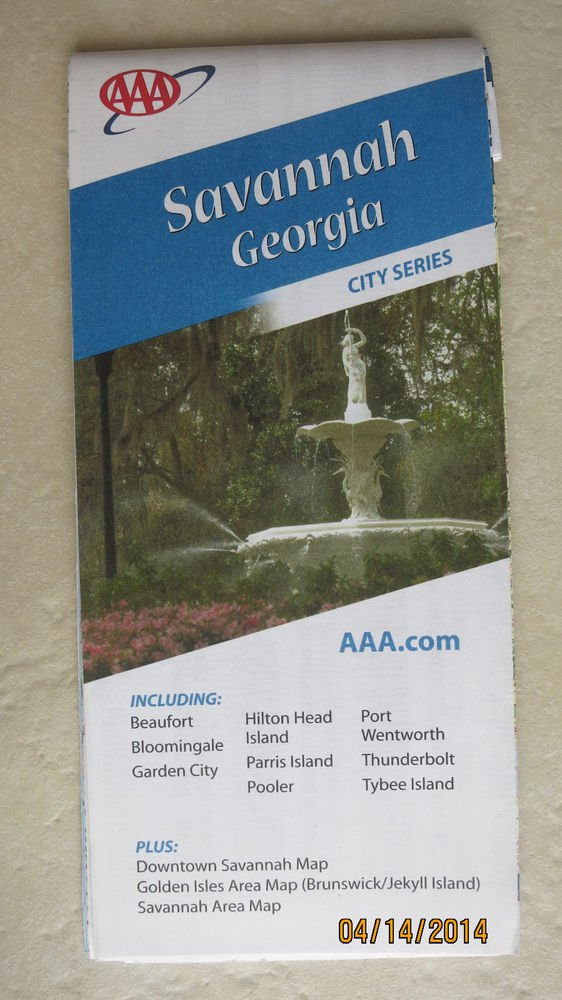AAA Savannah Georgia City series paper map Beaufort Bloomingale Garden City NEW