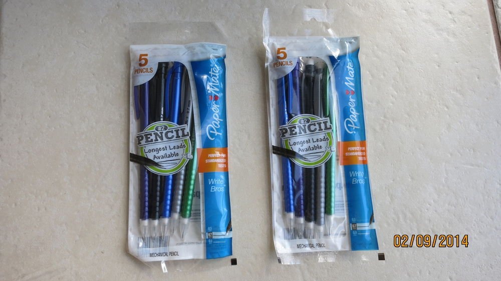 2 Packs Paper Mate Write Bros Mechanical Pencils - 5 pencils each pack .07 leads