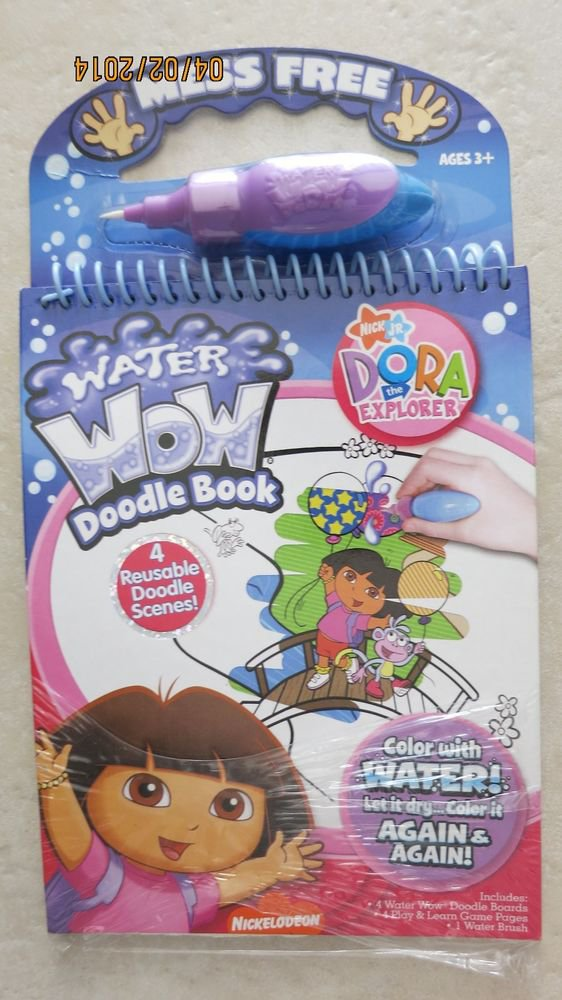 Water Wow Doodle book DORA the Explorer 4 reusable scenes & 1 water brush NEW co