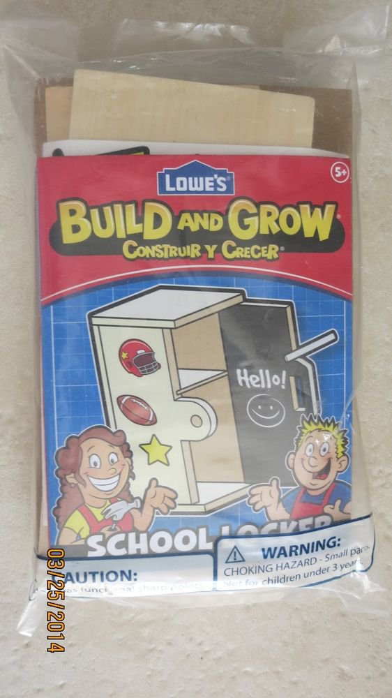 Lowe's Build and Grow Wood Project SCHOOL LOCKER Kids age 5+ hand building NEW g