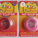 TWO Deet Free Bugbands insect Repelling Band RED and PINK color mosquitoes flies