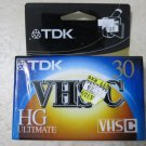 2 TDK Ultimate TC-30HG VHS-C Blank Cassette Tape Camcorder NEW VHS C 30 record