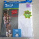 Hanes Classics 3 Camis 100% Cotton ComfortSoft size Large White L girl cami NEW