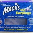 Mack's Clear Aquablock Earplugs 2 Pair Swim Shower Surf Bathe Water Sports NEW
