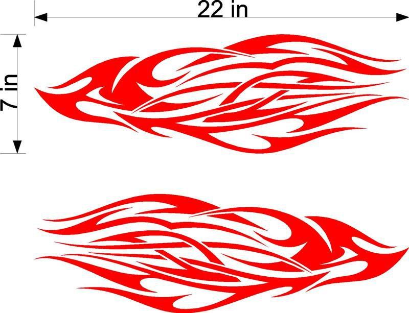 Flames Set Golf Go Cart  Racing Vinyl Sticker Decal 02