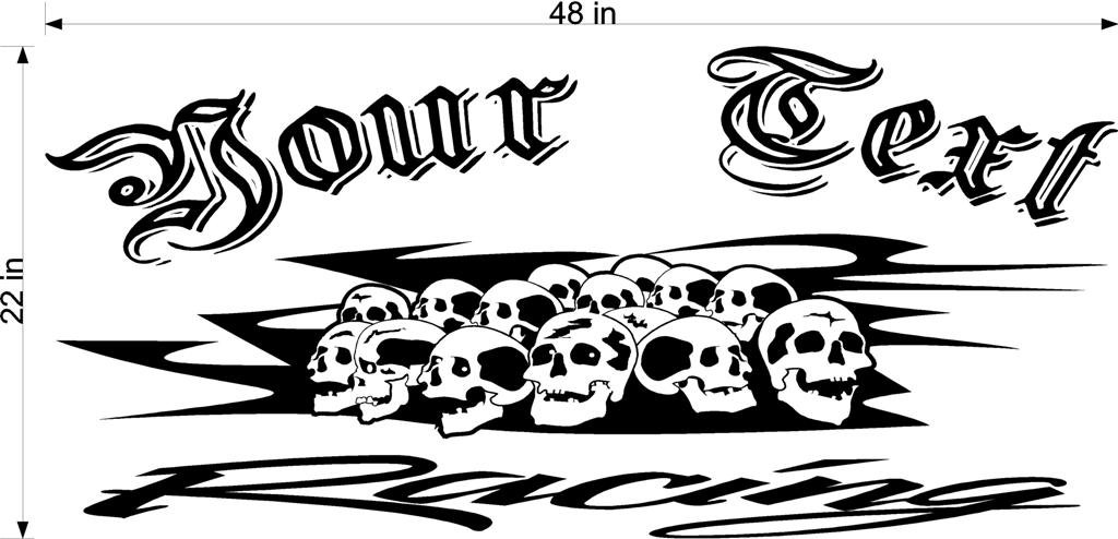 Skulls Team Name Racing Enclosed Trailer Vinyl Sticker Decal Graphics FREE SHIPPING!