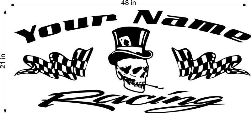 Skull Team Name Racing Trailer Vinyl Sticker Decal FREE SHIPPING!