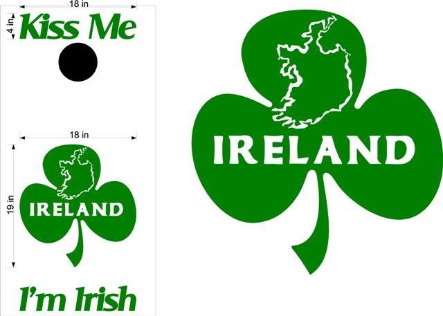Kiss Me Im Irish Clover Cornhole Board Decals Stickers