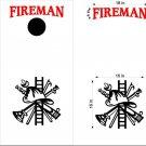 Fireman Ladder Axe Cornhole Board Decals Sticker