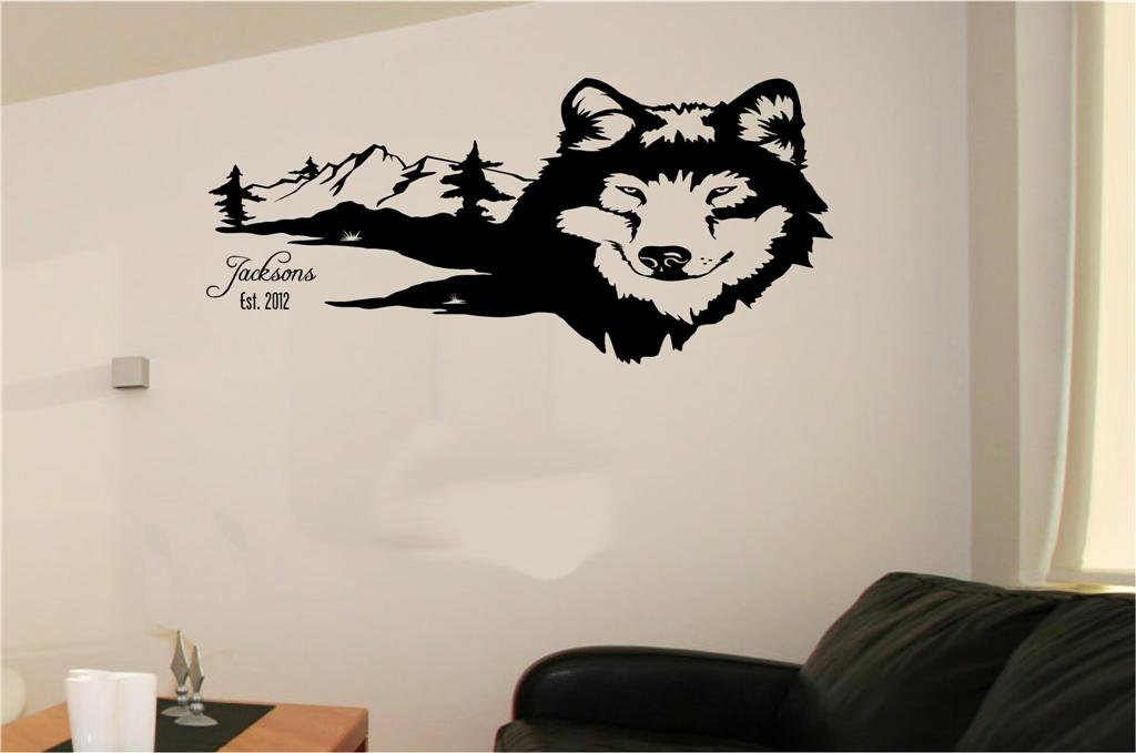 Wolf Wolves Mountains Scenery Vinyl Wall Sticker decal Art Home Decor
