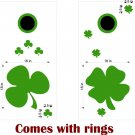 Irish Clover Shamrock Cornhole Board Decals SPRING GREEN