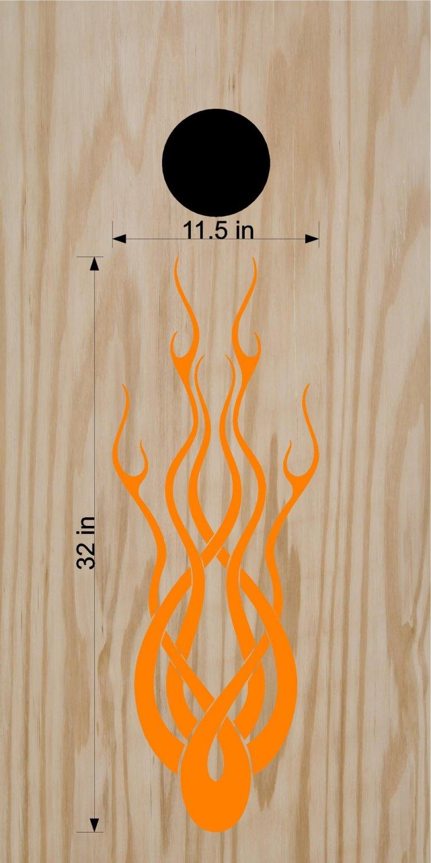 Flames Fire Cornhole Board Vinyl Decals Stickers F2b
